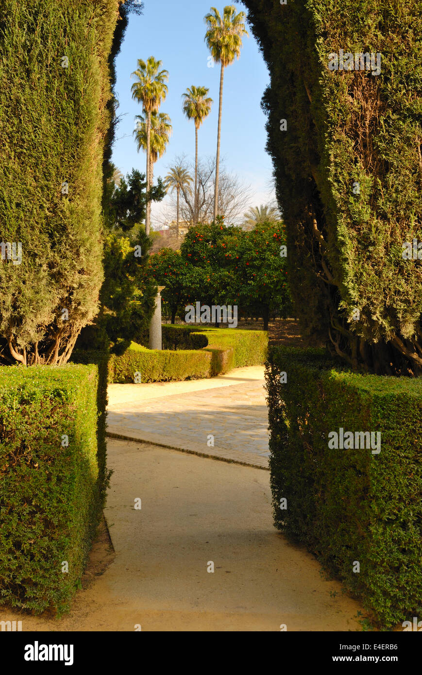 Hedge arch in the gardens of the Alcazar in Seville, Spain Stock ...
