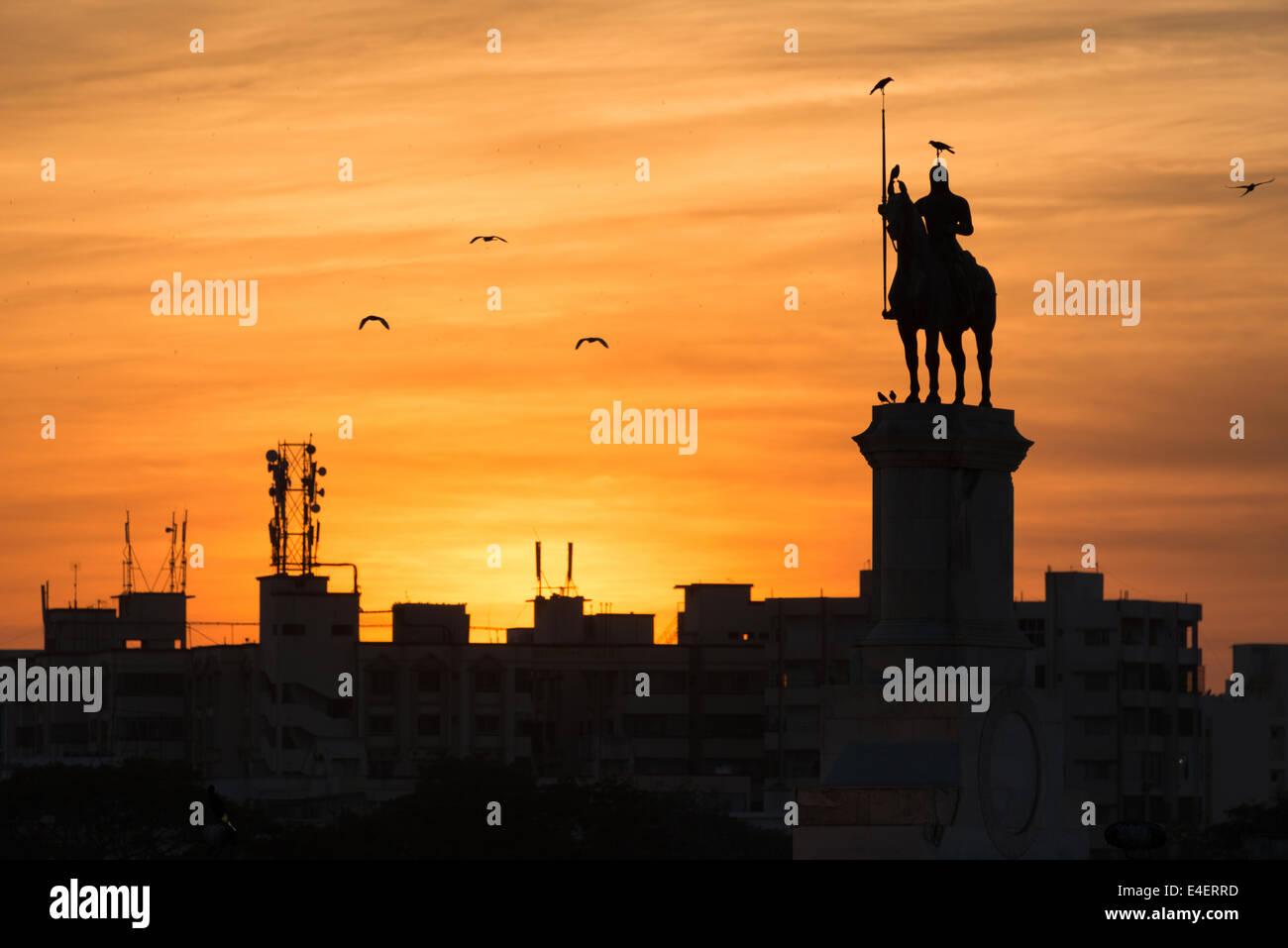 The statue of Maharana Ranjit singh in Jamnagar, Gujarat. - Stock Image