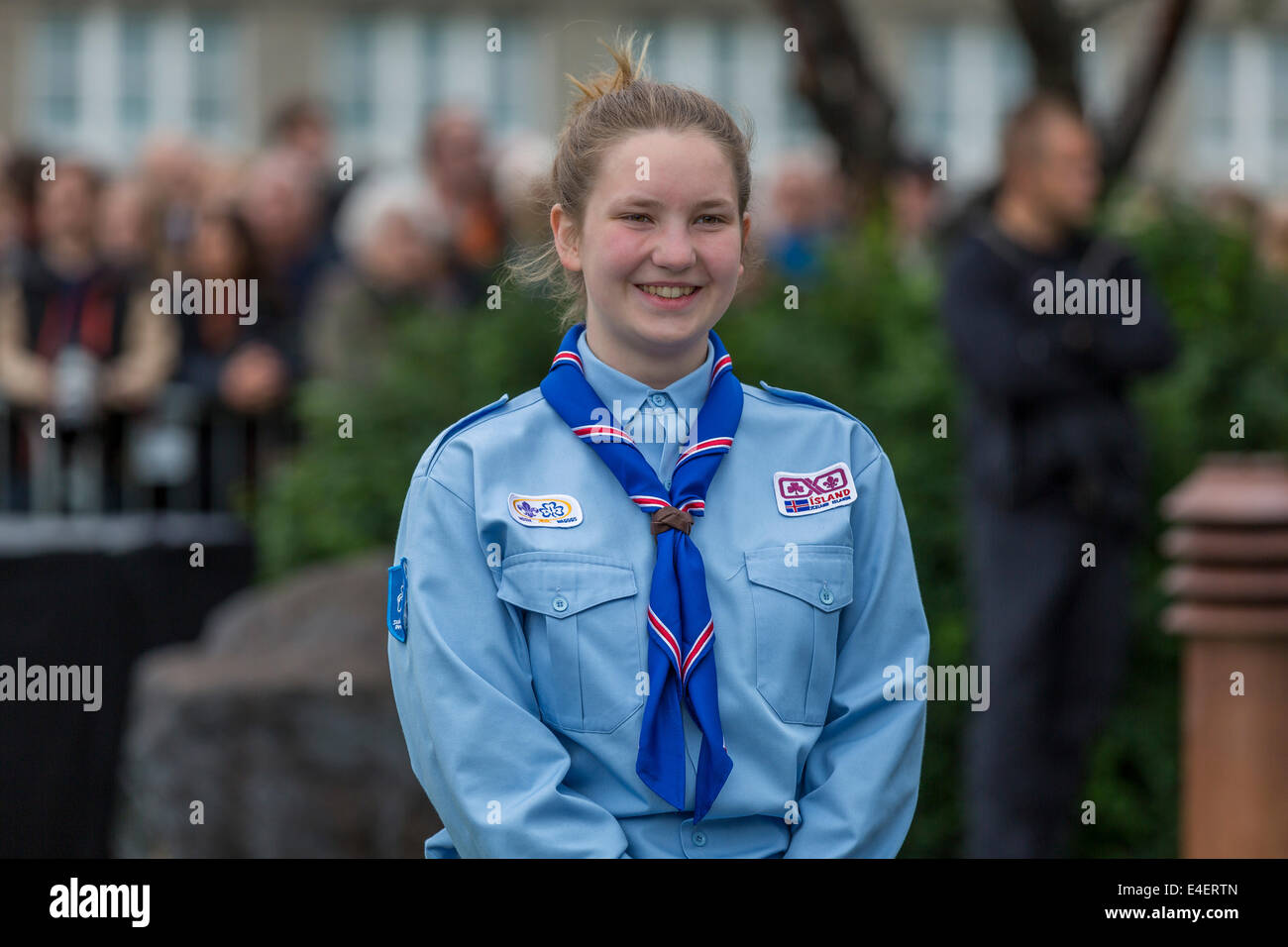 Portrait of Icelandic Girl Scout,  June 17th-Iceland's Independence Day, Reykjavik - Stock Image