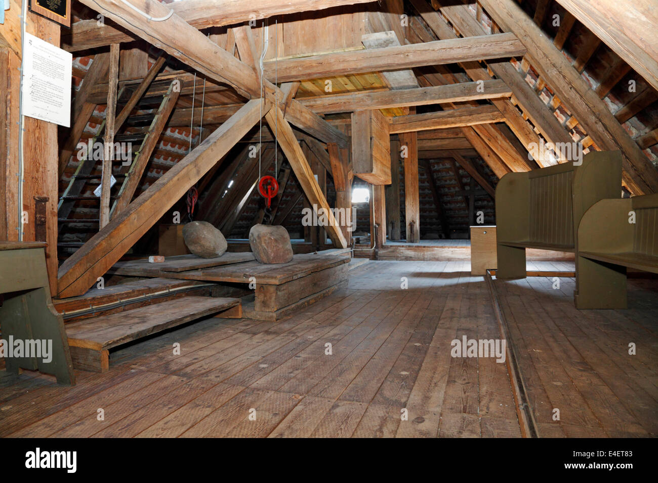 The attic of Gilleleje Church, North Zealand, Denmark. Hiding-place for Jews before being sailed to Sweden during Stock Photo