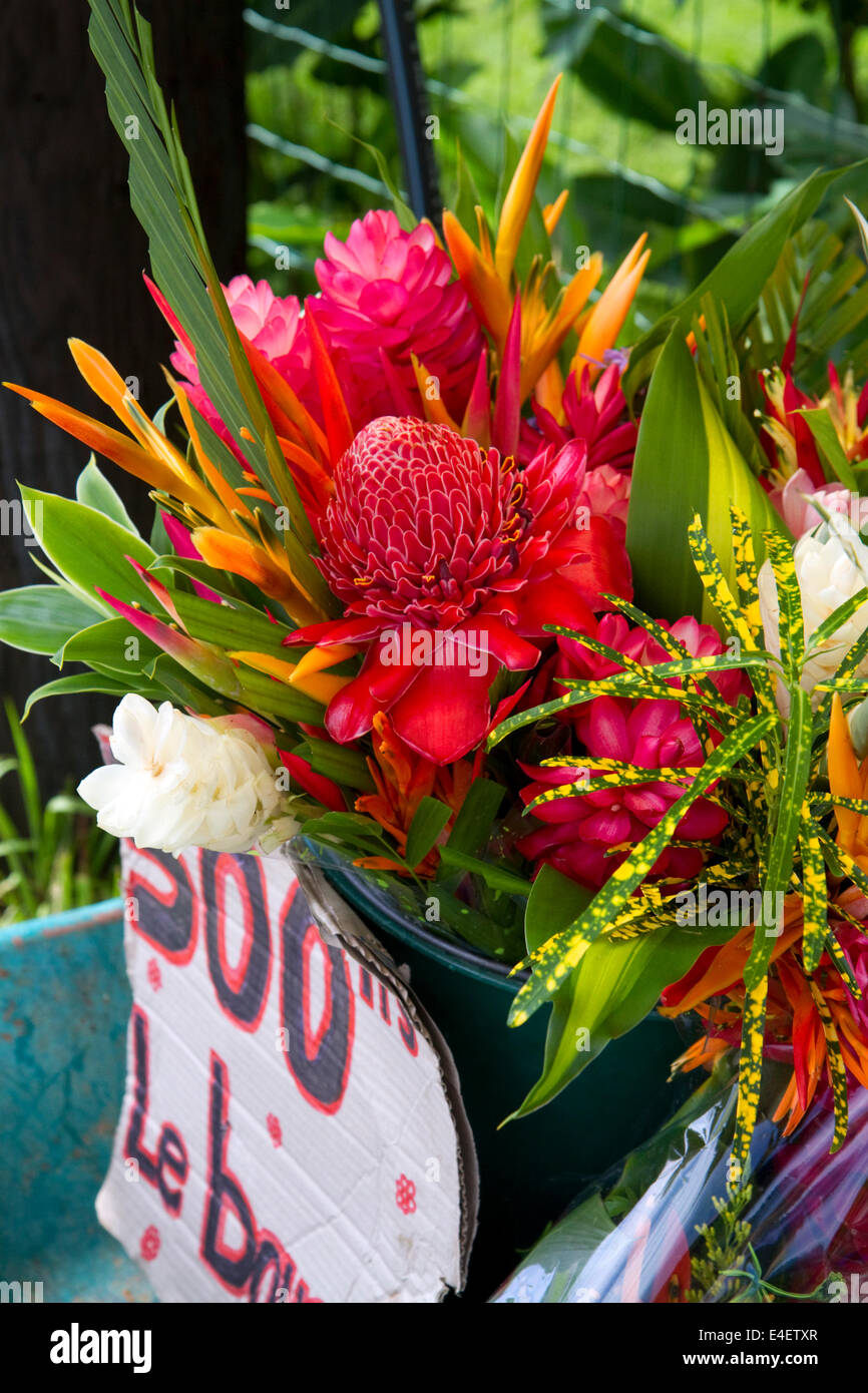 Tropical flower bouquet stock photos tropical flower bouquet stock a bouquet of tropical flowers being sold at a self serve stand on tahiti french izmirmasajfo