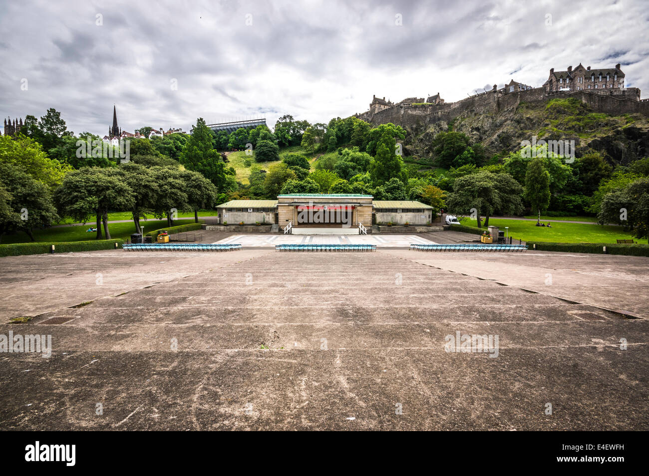 Ross bandstand Princes street gardens Edinburgh on a cloudy summers day - Stock Image