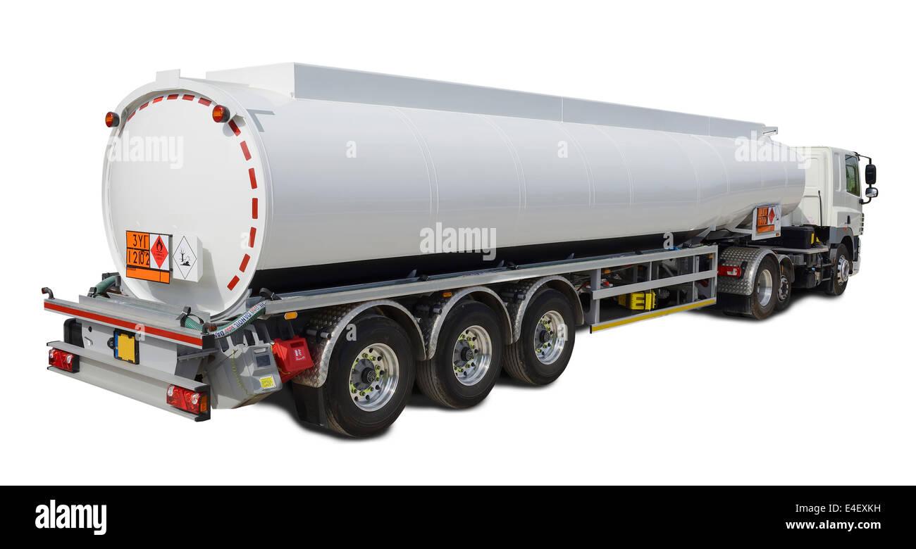 White UK fuel tanker - Stock Image