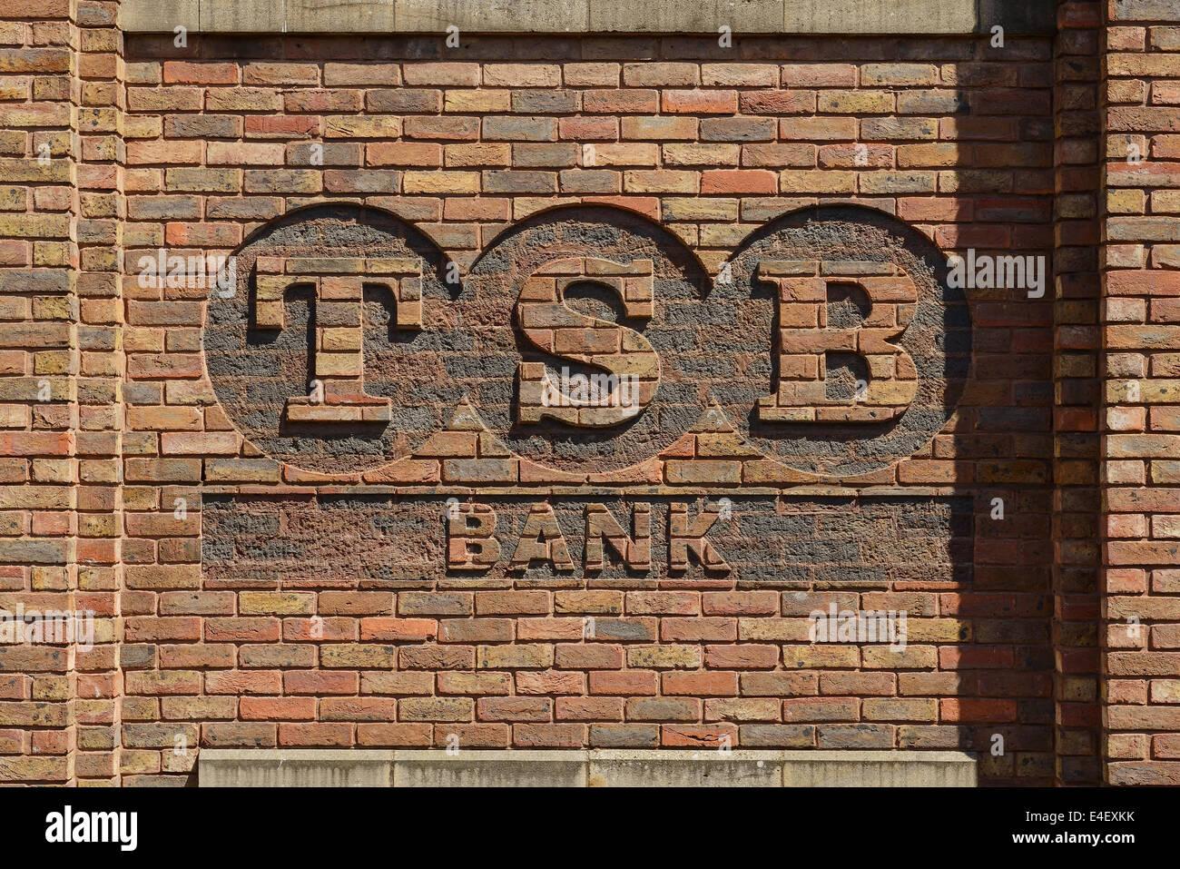 TSB Bank logo carved in decorative brickwork - Stock Image