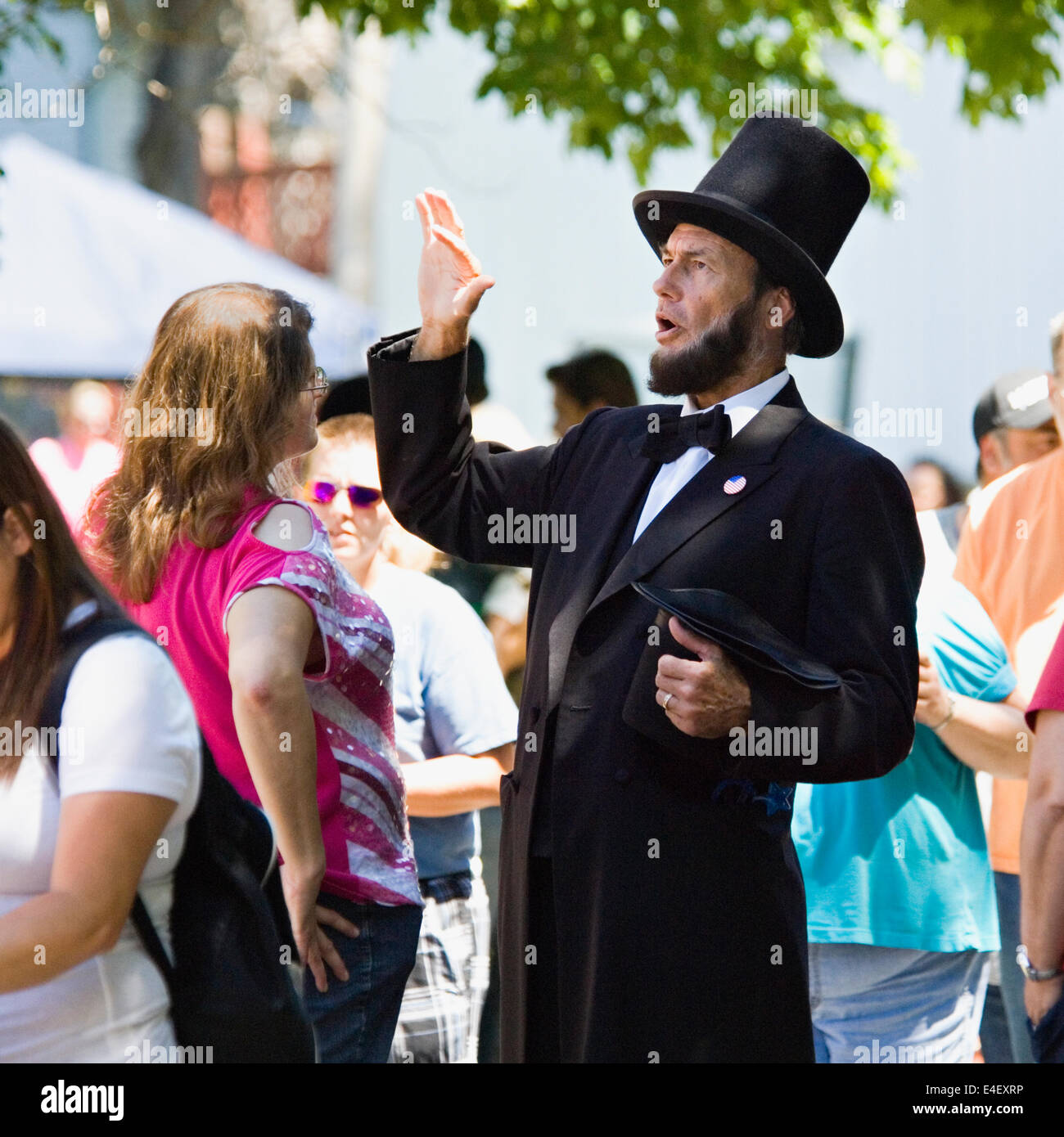Larry Elliot as Abraham Lincoln at the 184th Pekin Independence Day Celebration in Indiana Stock Photo