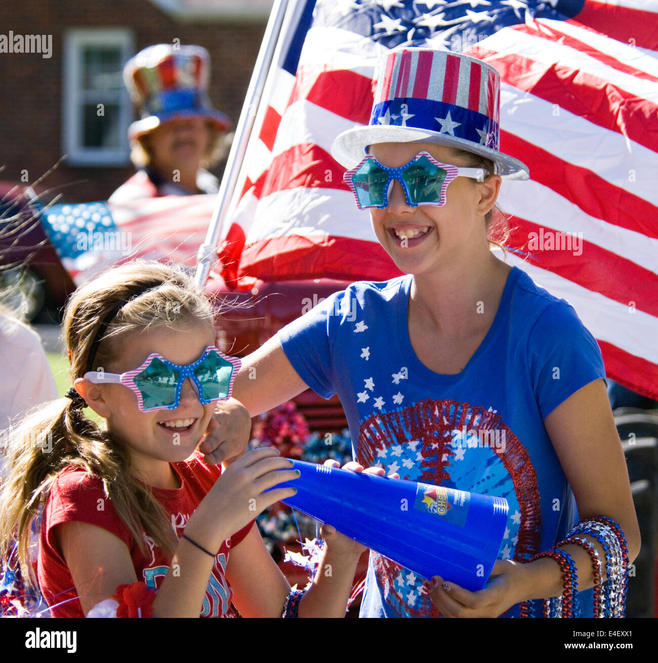 Young Girls Celebrating Independence Day in New Pekin Indiana - Stock Image