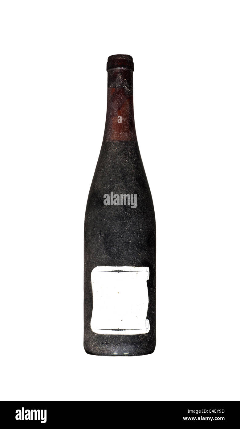 Dirty old bottle wine with blank label isolated on white - Stock Image