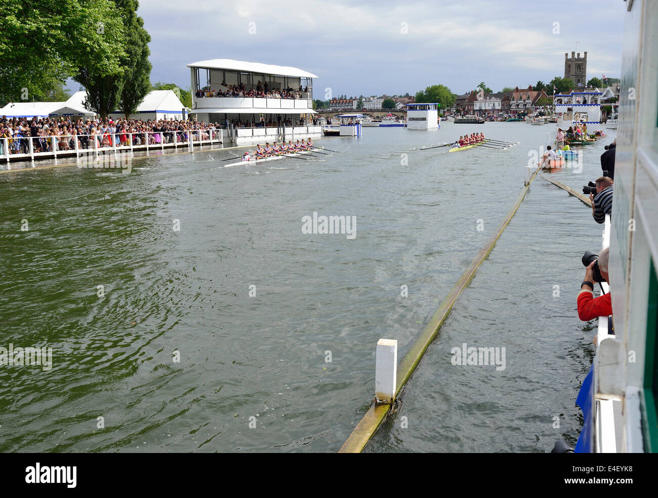 Photographers on the Progress box capturing the race at the finish post at  the 175 th anniversary of the Henley - Stock Image