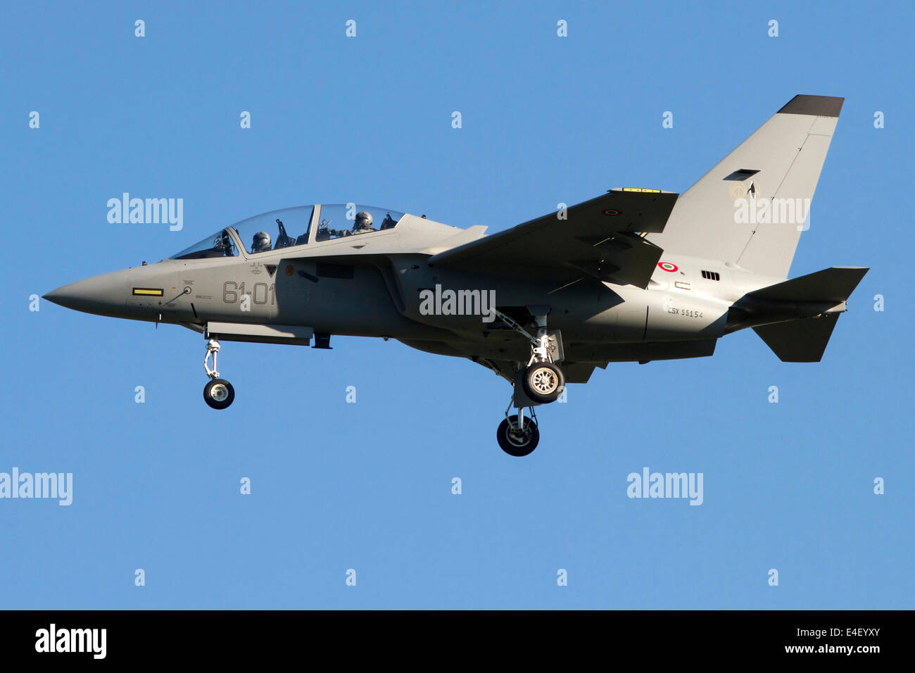 An Alenia Aermacchi M-346 Master trainer aircraft of the Italian Air Force in flight over Turin Airport, Italy. - Stock Image
