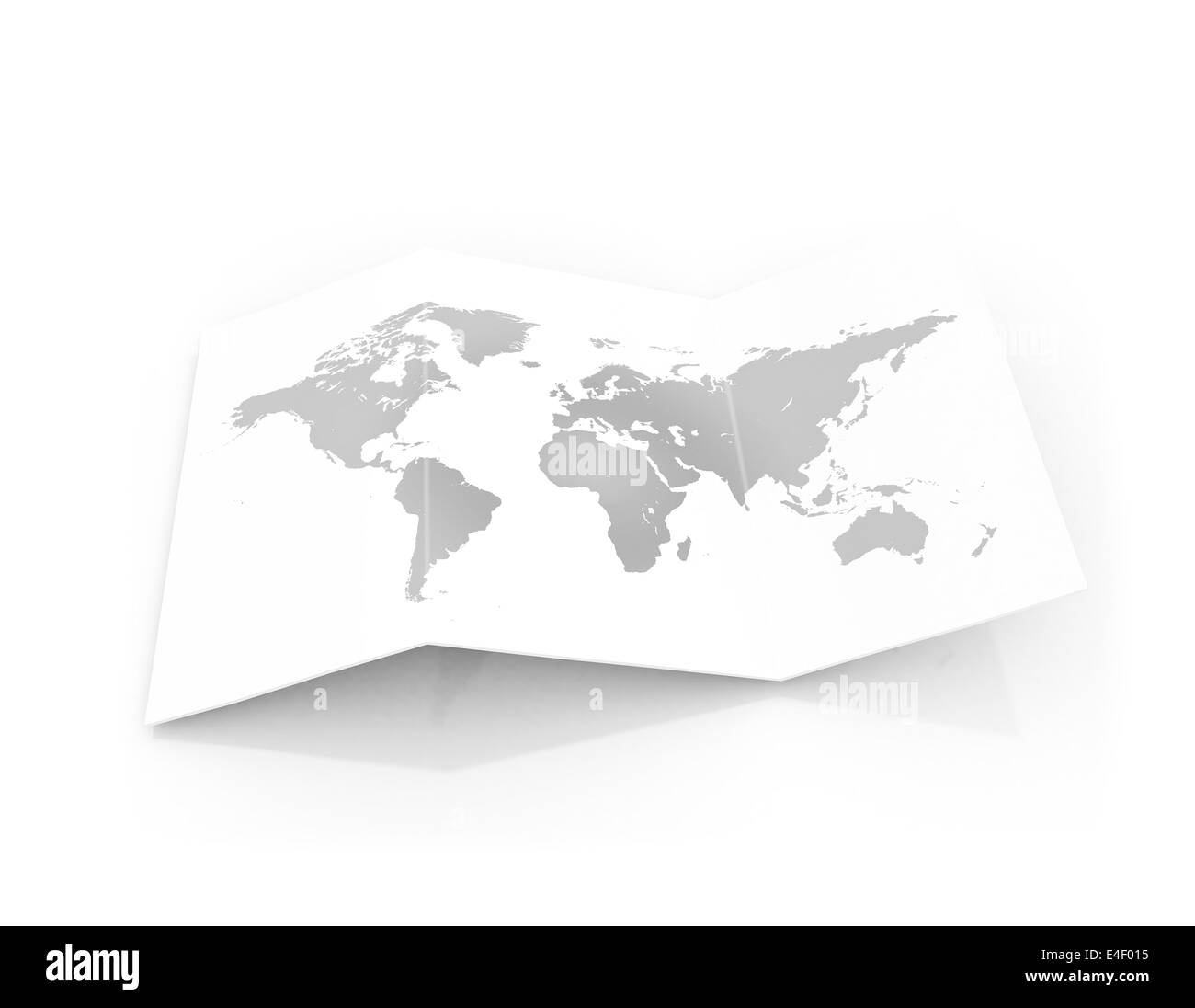 world map on a piece of cardboard paper - Stock Image