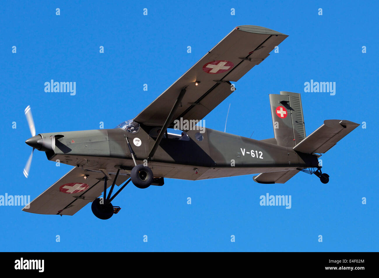 A Pilatus PC-6 of the Swiss Air Force in flight over Switzerland. - Stock Image