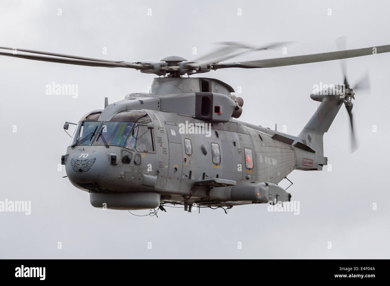 Royal Navy EH-101 Merlin in flight, Jagel, Germany. - Stock Image
