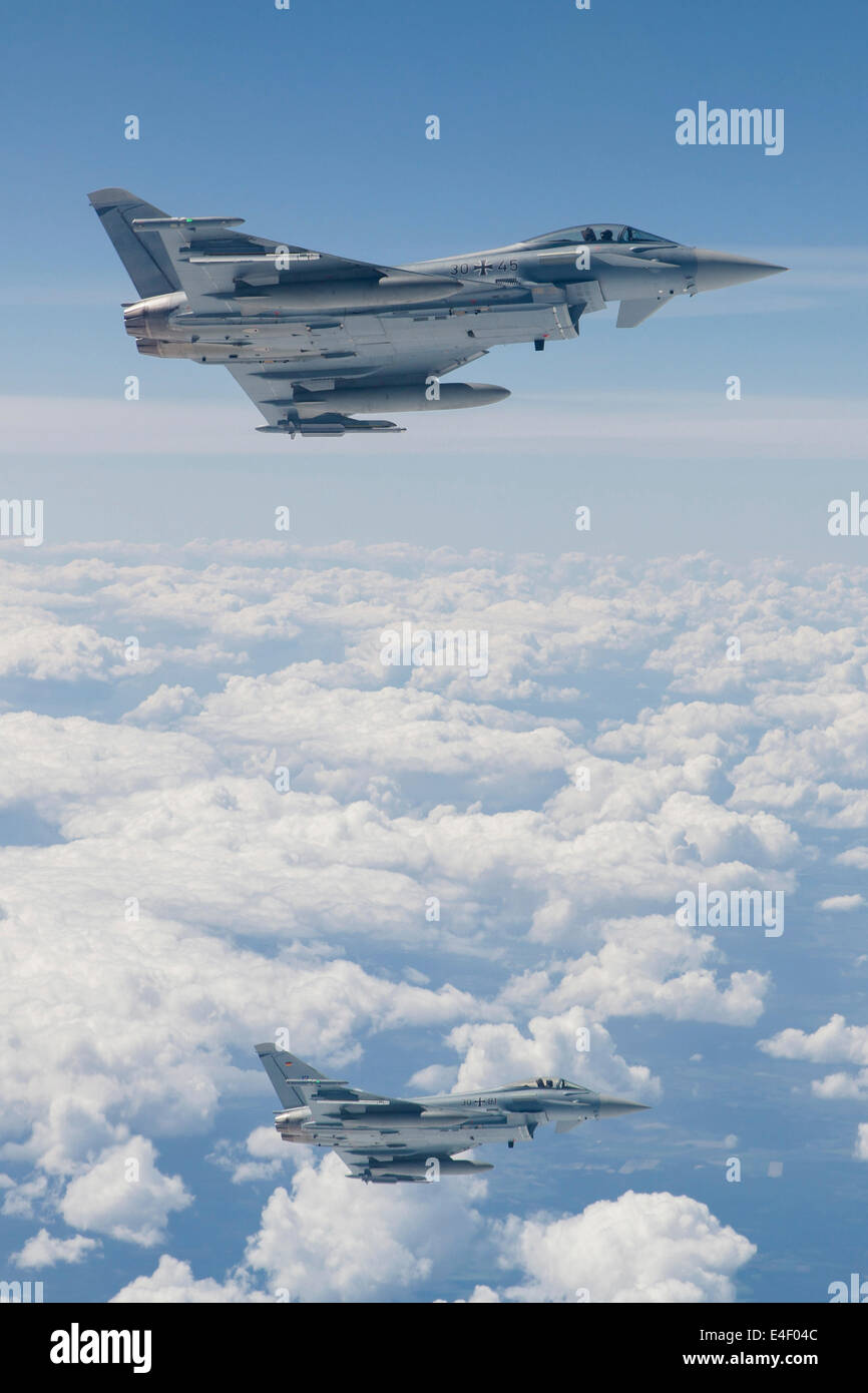 German Eurofighter Typhoon jets of TLG73 during NATO exercise JAWTEX 2014. - Stock Image