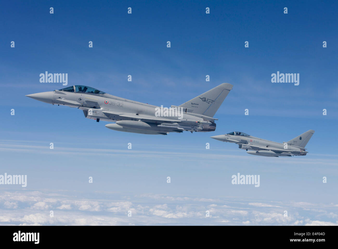 Italian Air Force Eurofighter Typhoon jets of 36th Stormo during NATO exercise JAWTEX 2014. - Stock Image