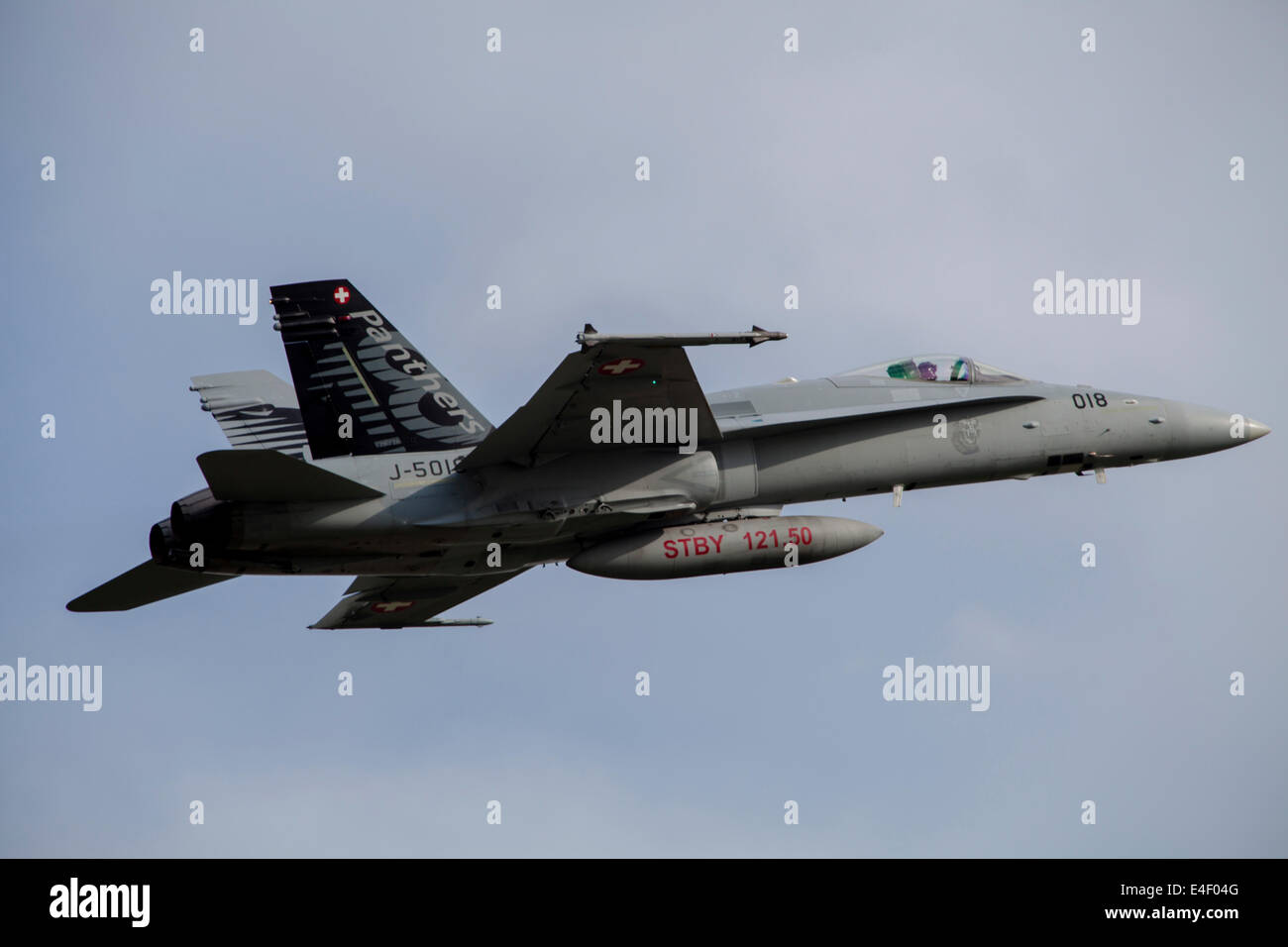 Swiss Air Force F-18C Hornet used for Air Policing, scrambles from Payerne Air Base, Payerne, Switzerland. - Stock Image