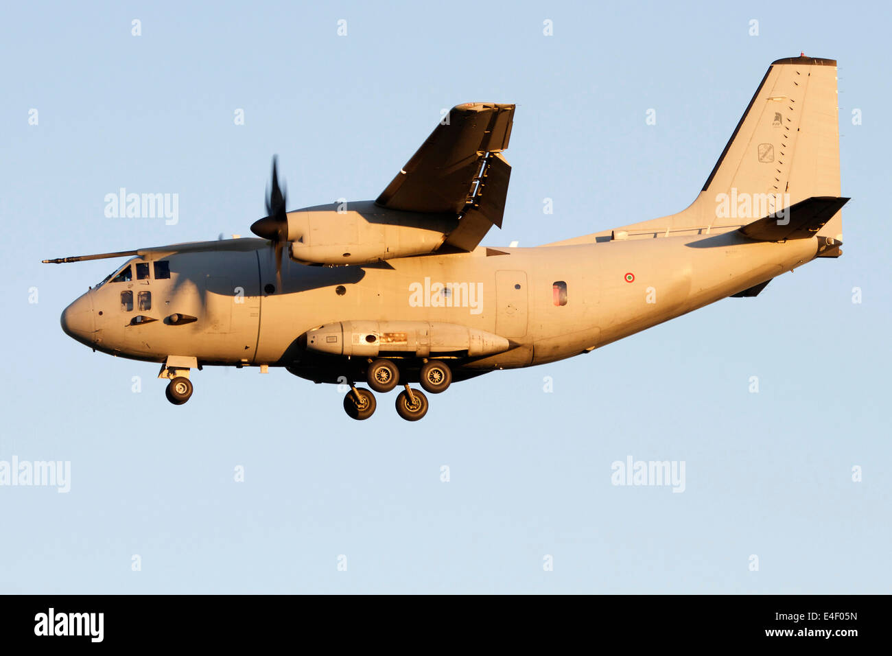 An Alenia C-27J Spartan of the Italian Air Force in flight over Turin Airport, Italy. - Stock Image