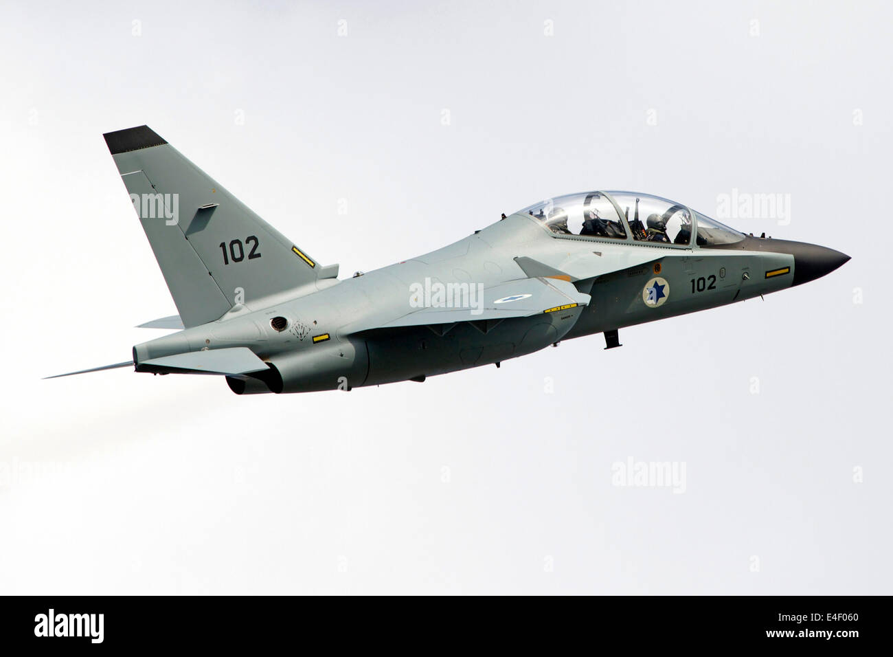 An Alenia Aermacchi M-346 Master trainer aircraft of the Israeli Air Force in flight over Italy. - Stock Image