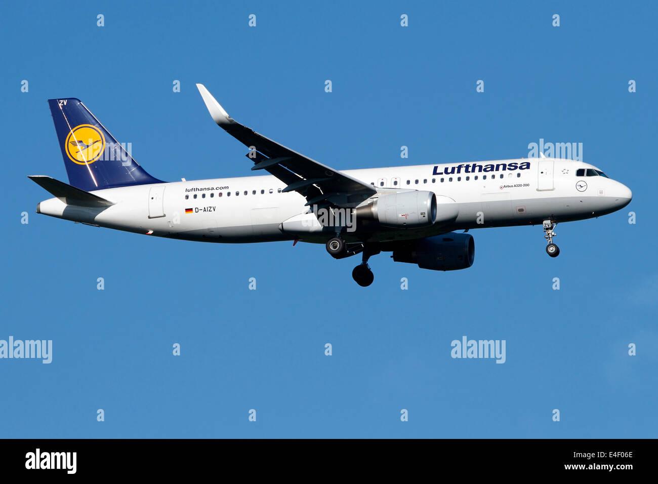 A Lufthansa Airbus A320-200 sharklet. - Stock Image