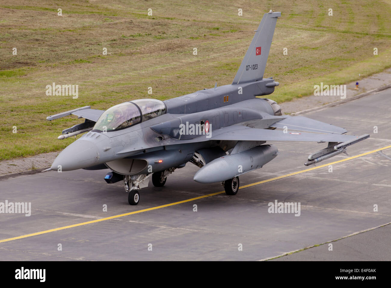 Turkish Air Force F-16D Block 52 with conformal fuel tanks during NATO exercise JAWTEX 2014, Wittmund, Germany. - Stock Image