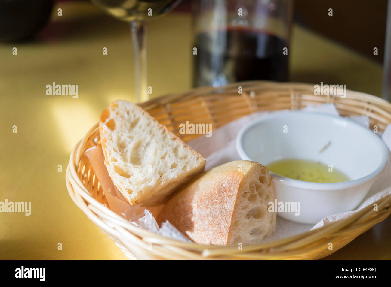 Italian food table setting with Ciabatta bread a bowl of garlic olive oil and red & Italian Table Setting Stock Photos u0026 Italian Table Setting Stock ...
