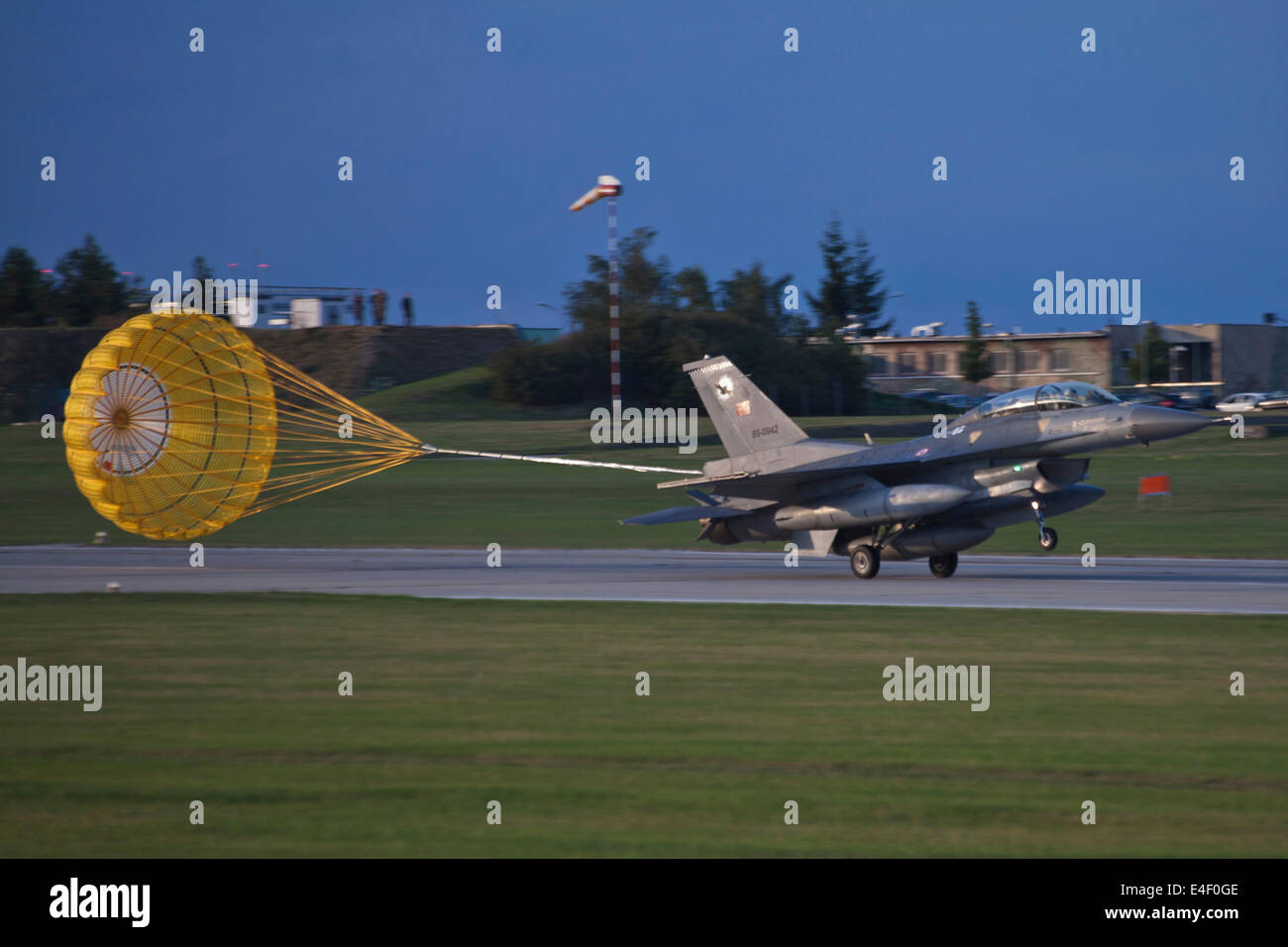 Turkish Air Force F-16D landing during NATO Exercise Ramstein Rover, Namest, Czech Republic. - Stock Image