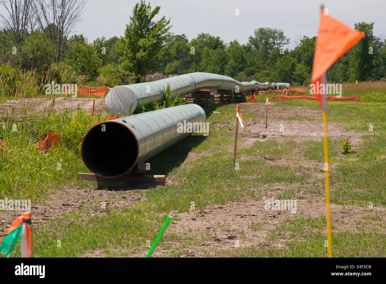 Marysville, Michigan - Construction of a pipeline to carry tar sands oil from Canada. - Stock Image