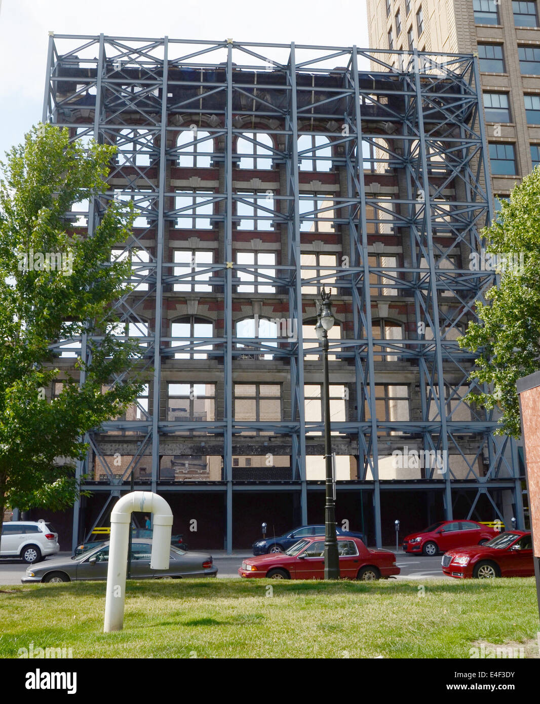 DETROIT, MI - JULY 6: This reinforced building facade in Detroit, MI, shown on July 6, 2014, is representative of - Stock Image