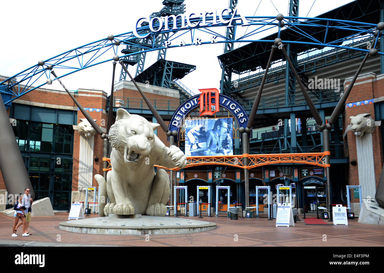 DETROIT, MI - JULY 6: Fans walk past entry of Comerica Park, home of the Detroit Tigers, on July 6, 2014. The Tigers - Stock Image