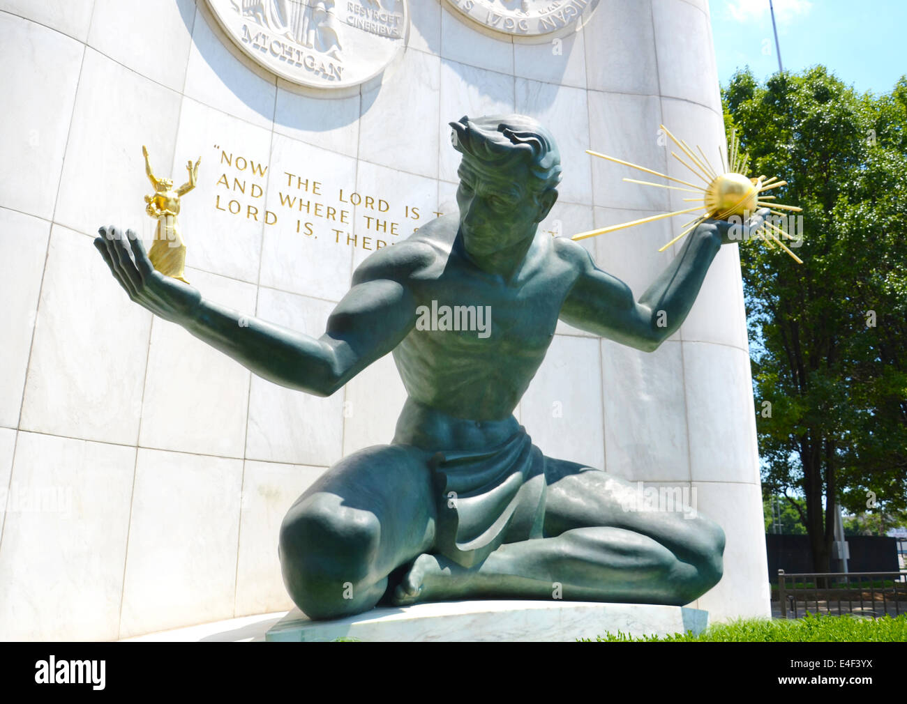 DETROIT, MI - JULY 6: The Spirit of Detroit monument in Detroit, MI, shown here on July 6, 2014, was featured in - Stock Image