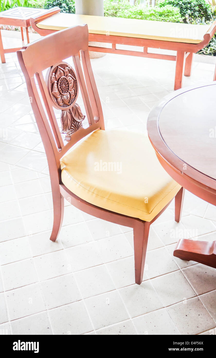Vacant carving wooden chair in living room Stock Photo: 71633490 - Alamy