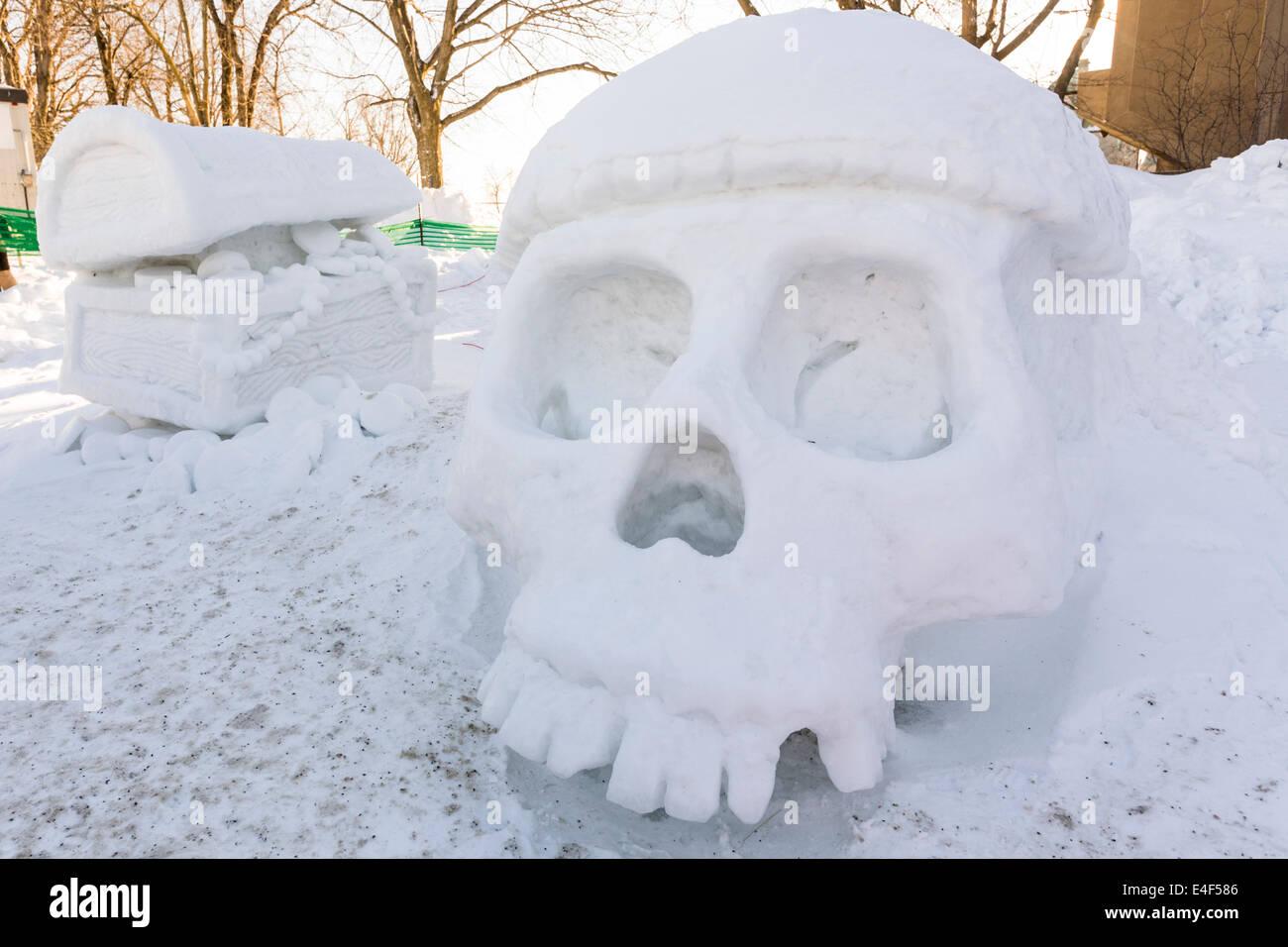 Ice sculpture, Quebec Winter Carnival, Quebec City, Quebec, Canada - Stock Image
