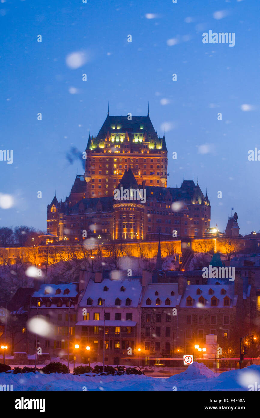 Snow falling in front of Chateau Frontenac, Quebec City Quebec, Canada. Quebec City is the oldest city in North - Stock Image