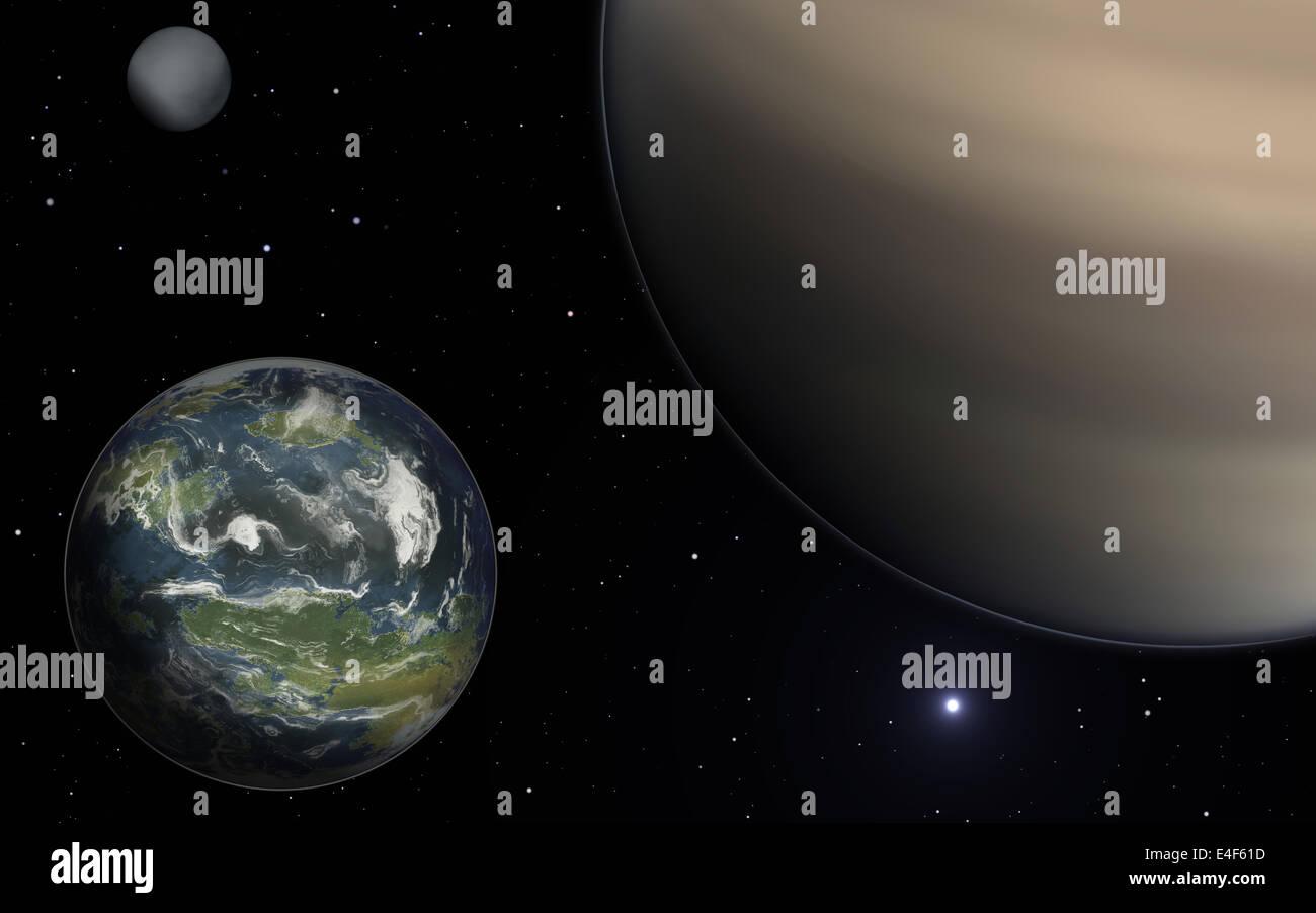 Habitable exomoon, gas giant and rocky exomoon Stock Photo