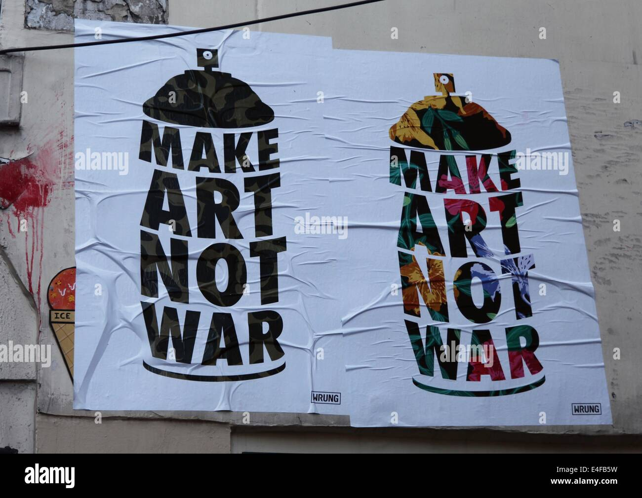 it 39 s a photo of two street art posters in paris city in france make stock photo 71638165 alamy. Black Bedroom Furniture Sets. Home Design Ideas