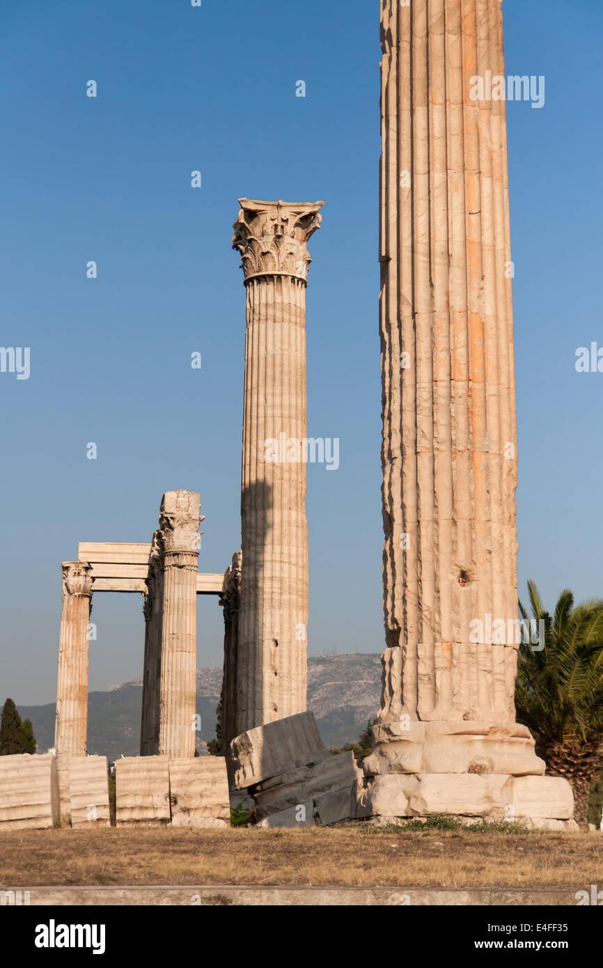 Corinthian columns of Temple of Zeus in Athens, Greece. - Stock Image