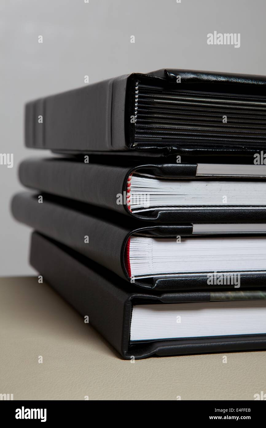 Stack Of High Quality Wedding Albums End View Along The Spine Stock Photo Alamy
