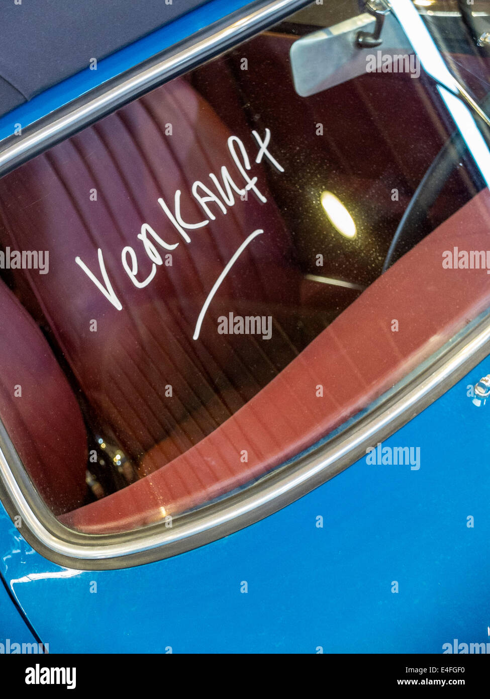 "Classic Car Porsche 356 ""verkauft"" (""sold"" german) Stock Photo"