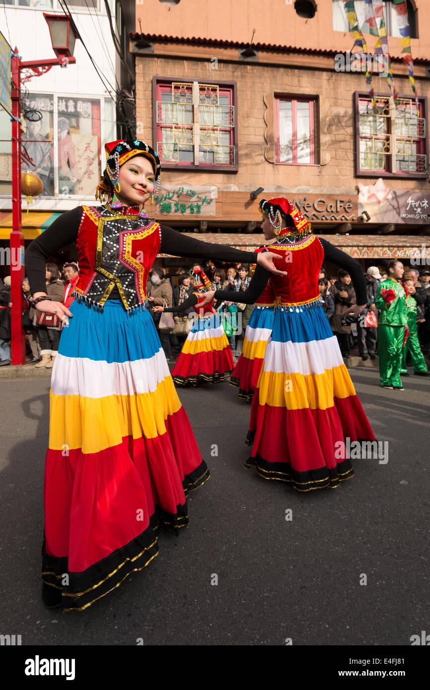 Dancers in the Chinese New Year parade in Yokohama, Japan - Stock Image