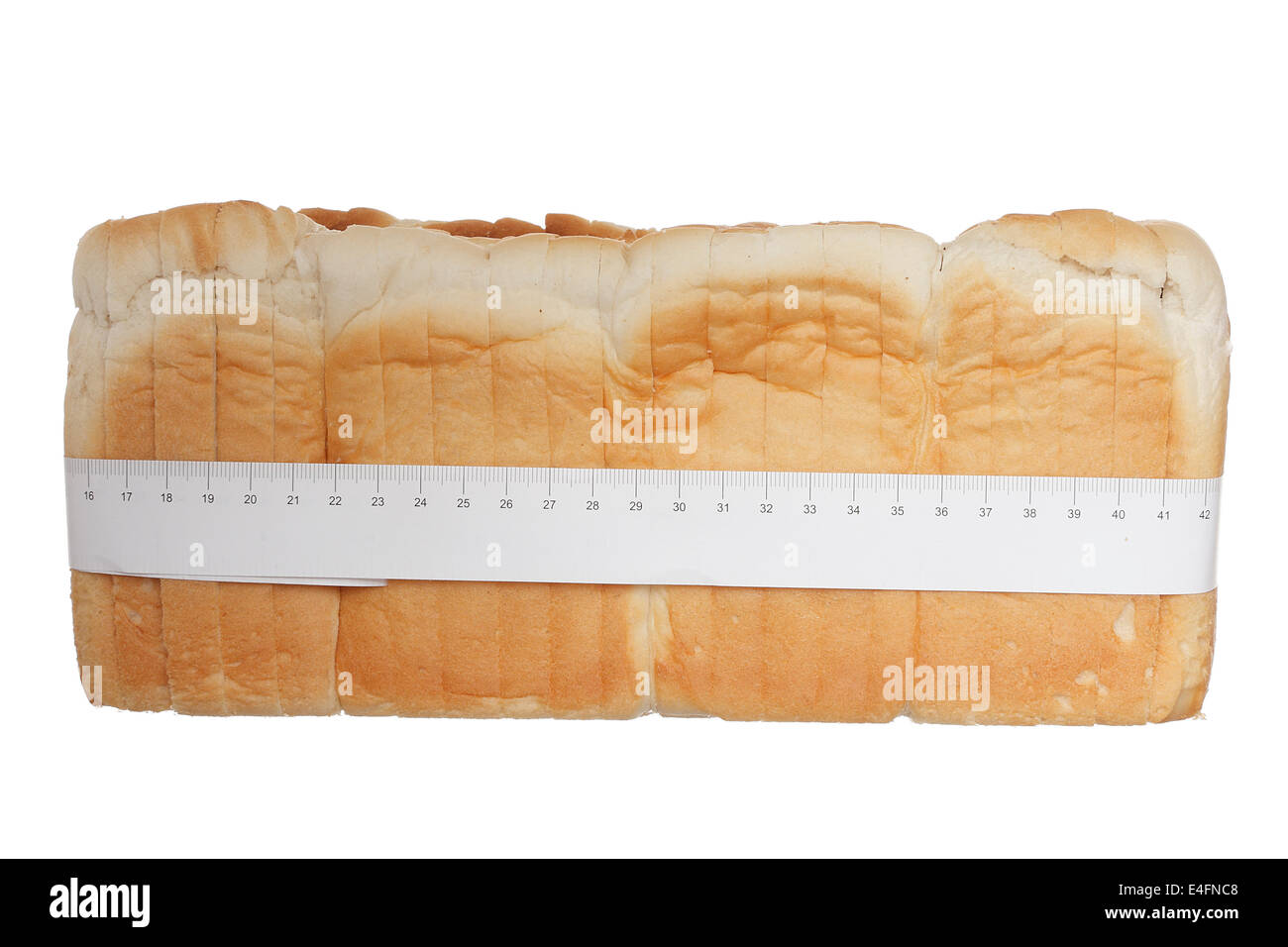 Sliced  white bread with meter isolated on white background Stock Photo