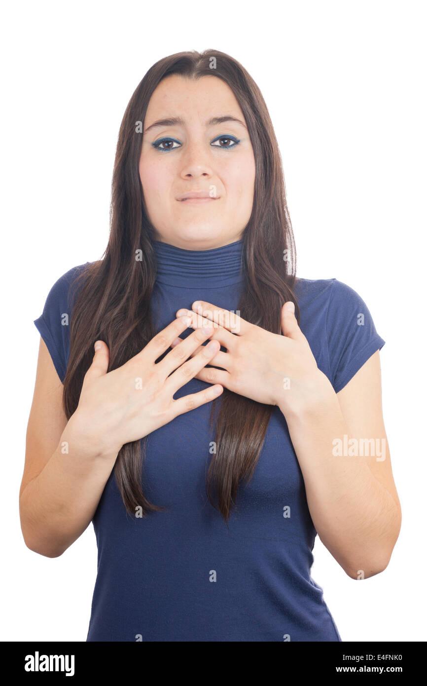Close-up of a girl afraid isolated on white background - Stock Image