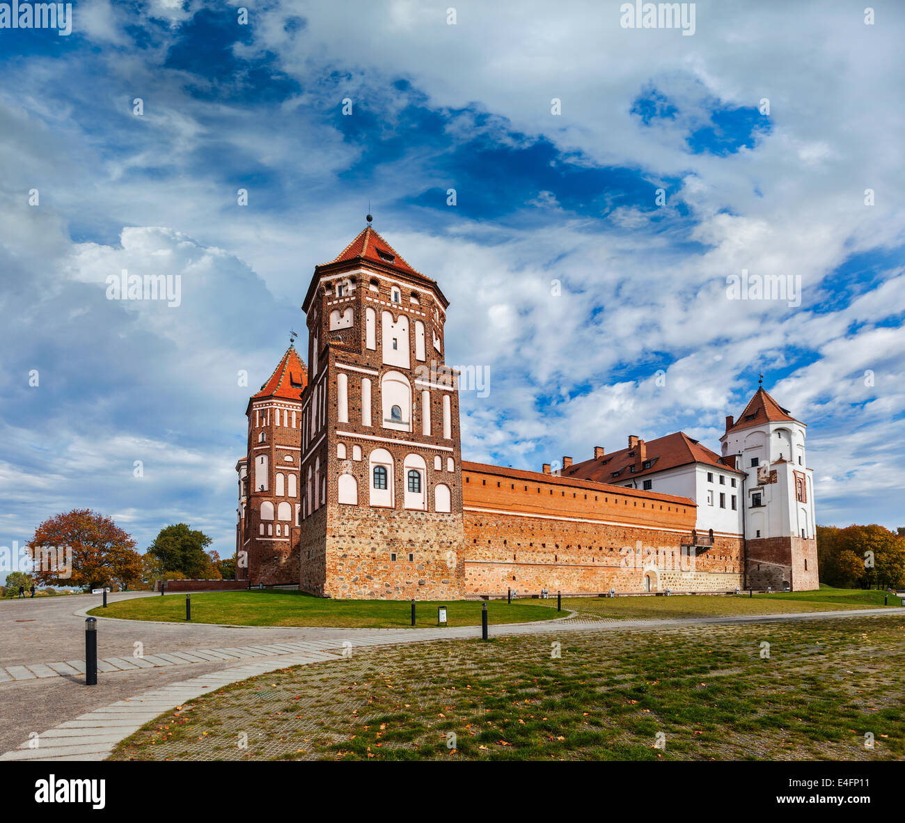 Travel belarus background - Medieval Mir castle famous landmark in town Mir, Belarus - Stock Image