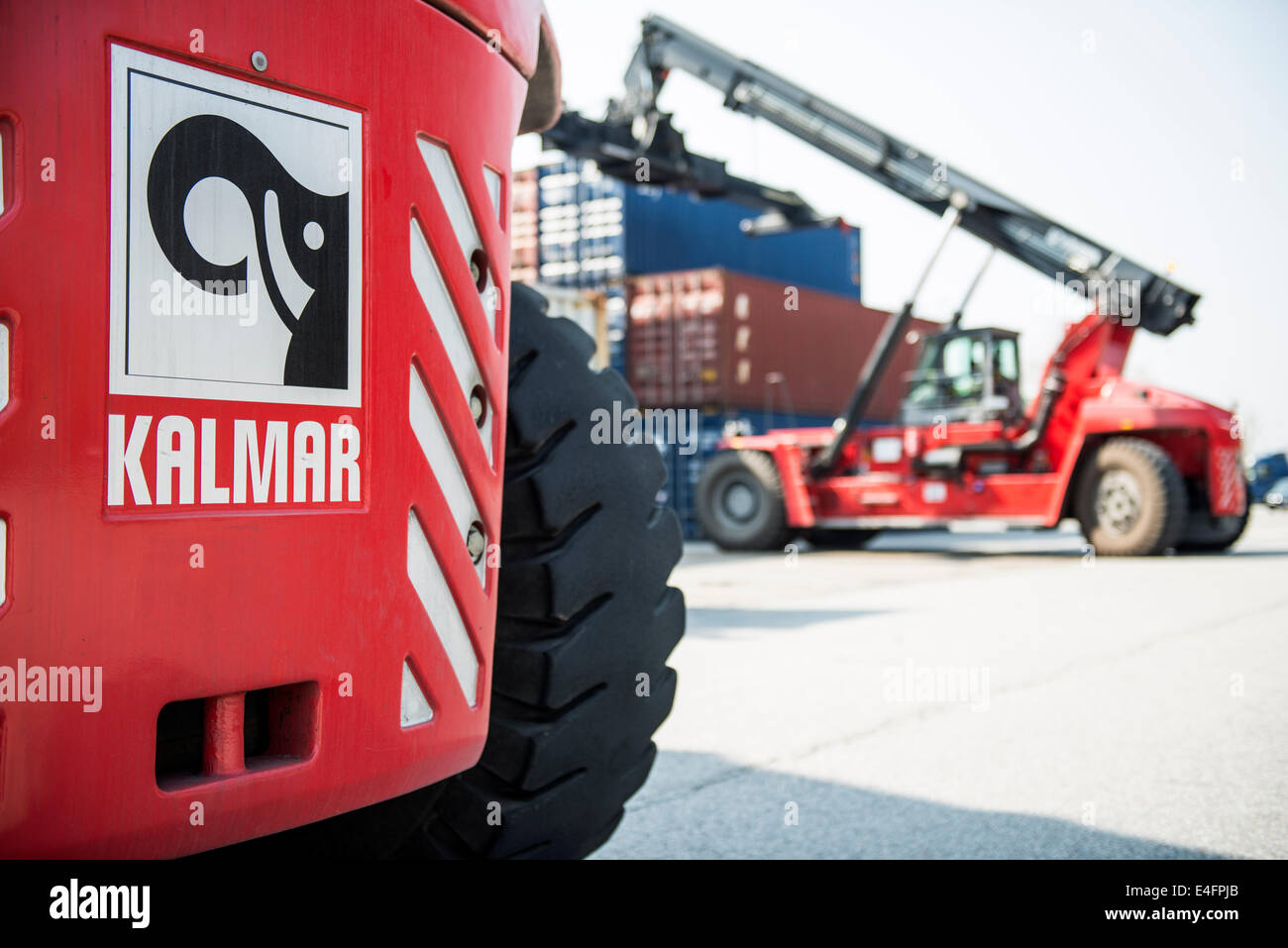 Kalmar - Reach Stackers at Container Terminal - Stock Image