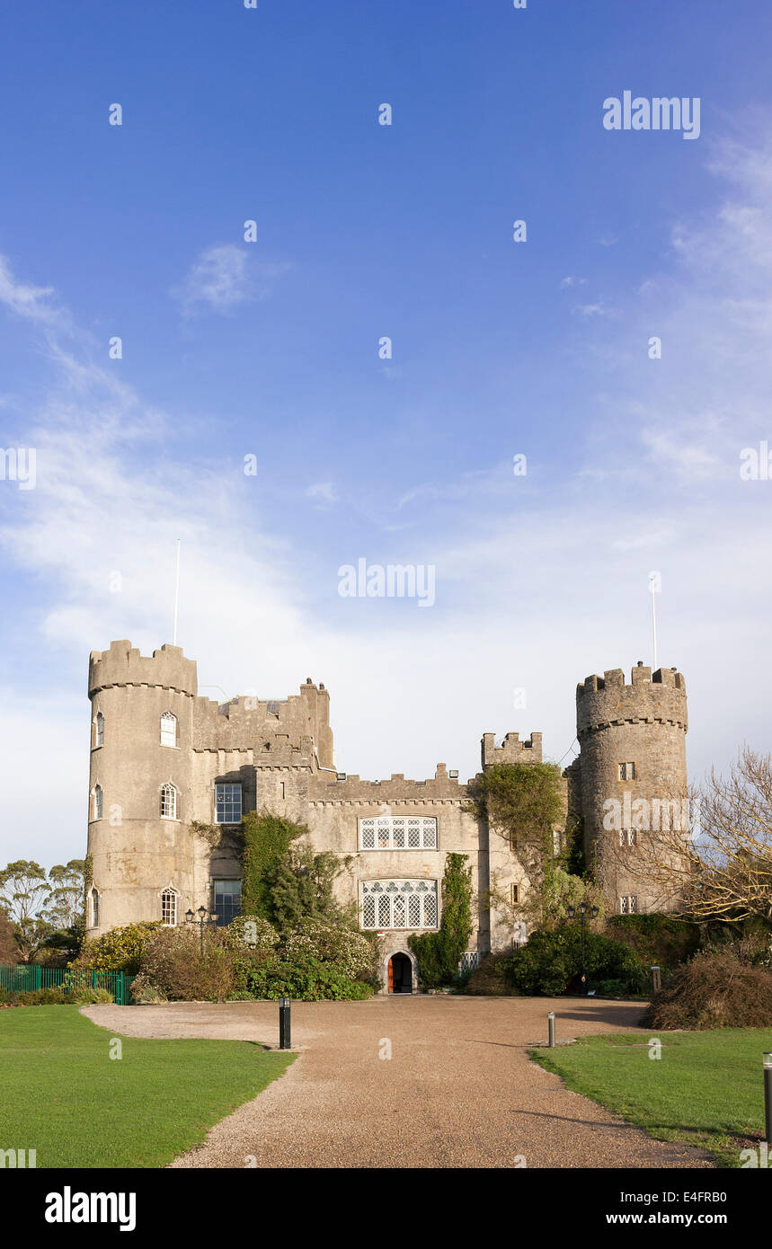 Malahide Medieval Castle in Dublin Ireland - Stock Image
