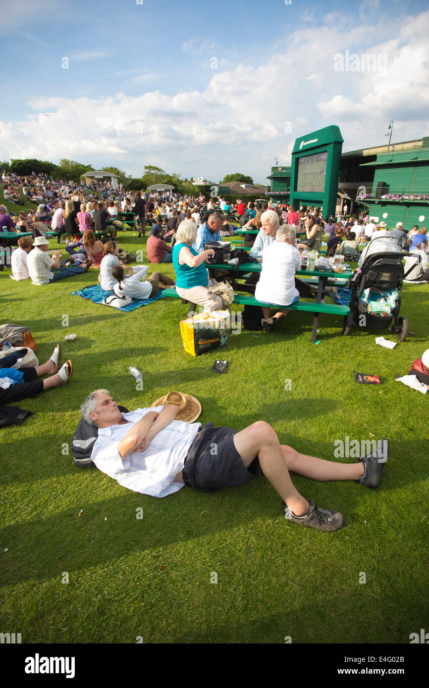 Fans on Murray Mound which replaced Henman Hill at Wimbledon Tennis Championships 2014, Southwest London, England, Stock Photo