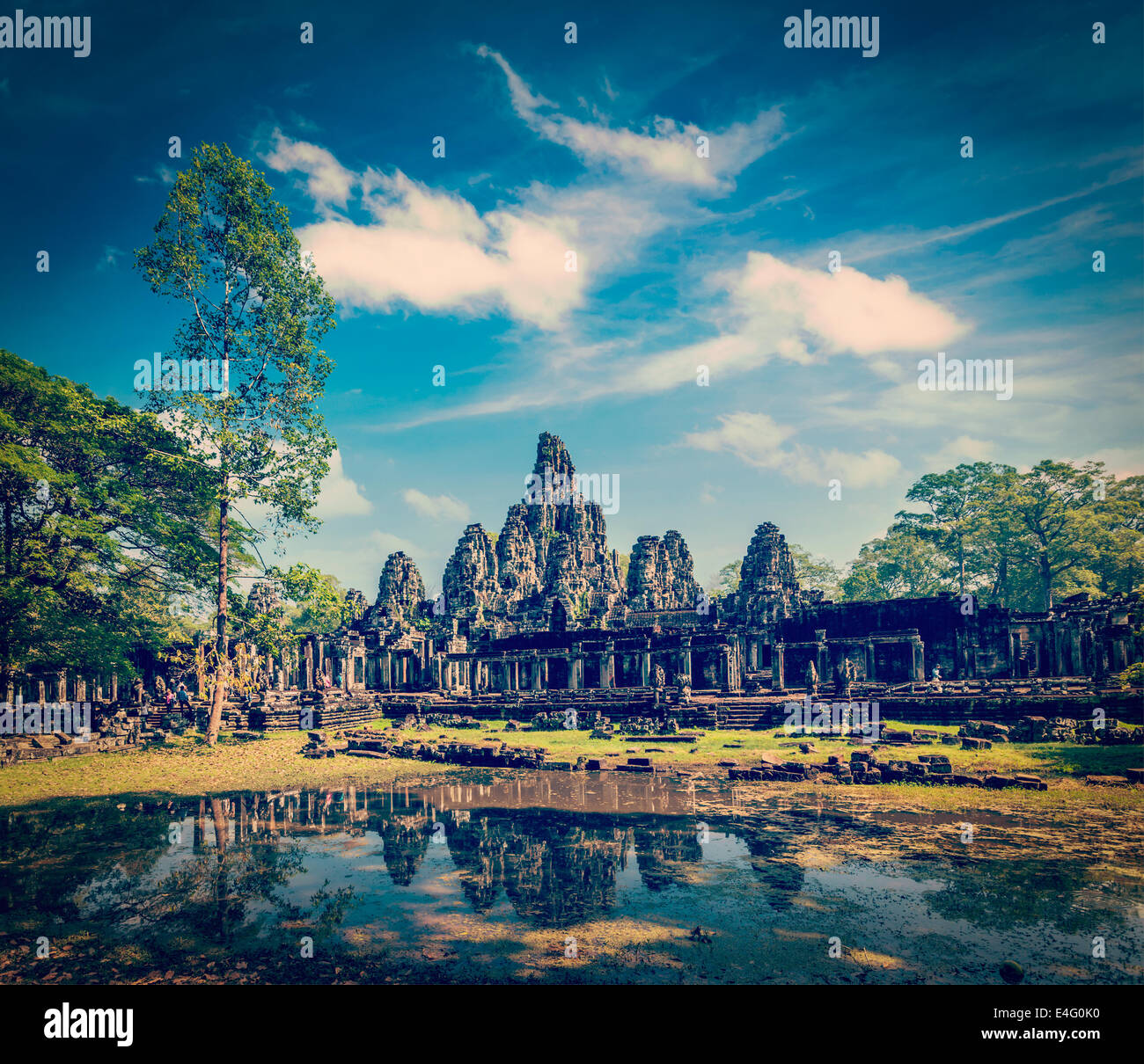 Vintage retro effect filtered hipster style travel image of Bayon temple, Angkor Thom, Cambodia - Stock Image