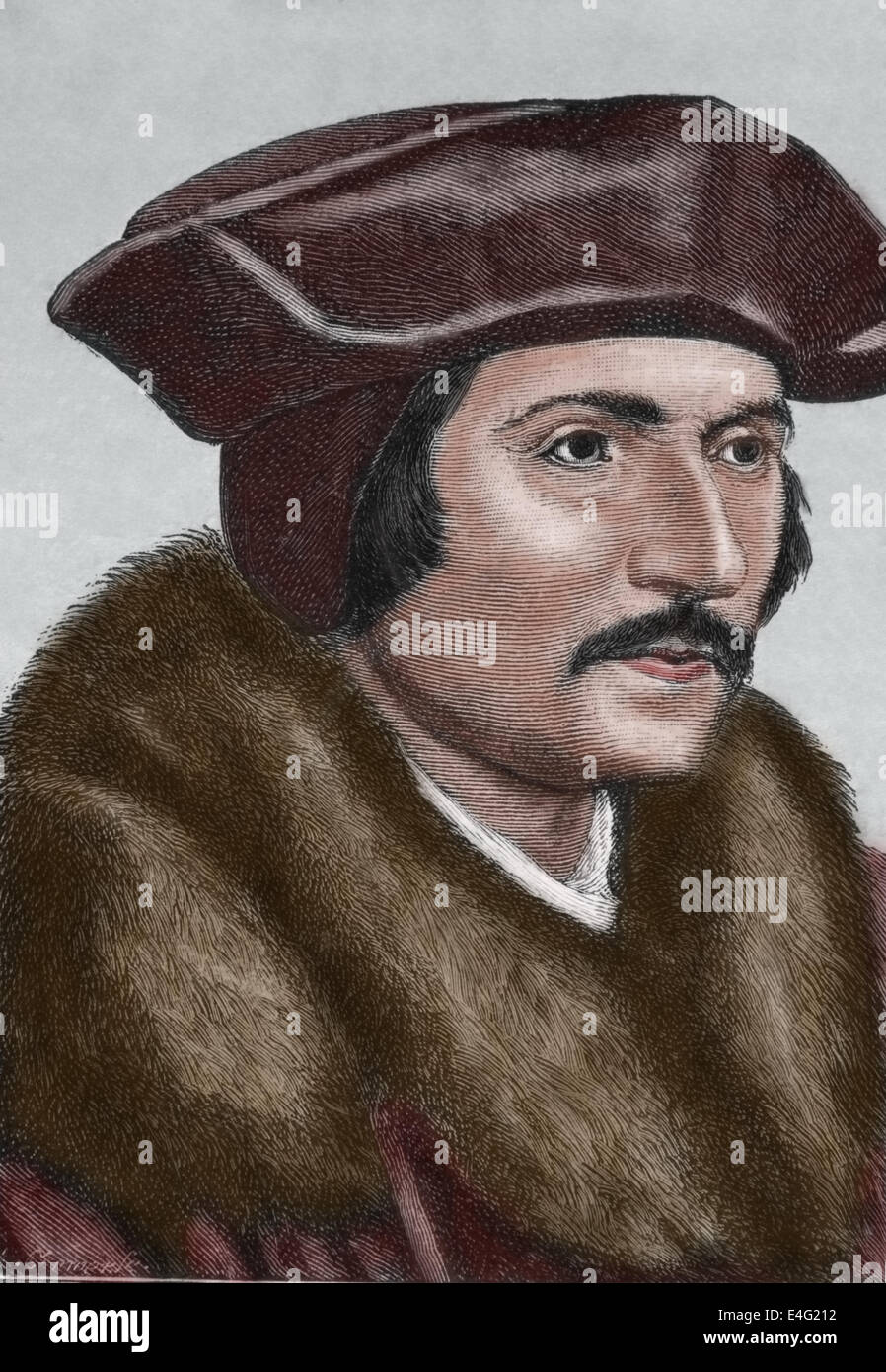 Thomas More (1478-1535). English lawyer, social philosopher, statesman and Renaissance humanist. Engraving by J. - Stock Image