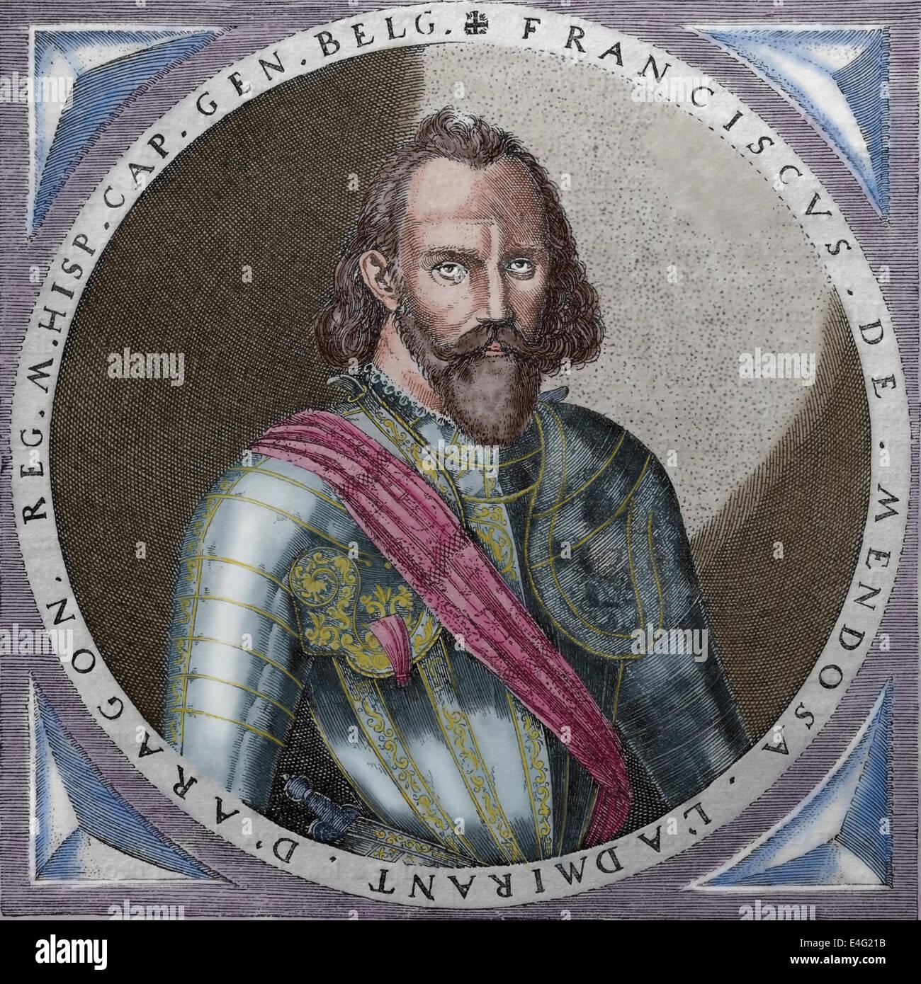 Francisco de Mendoza (1515-1547).  Spanish conqueror. Engraving, Universal History. Published, 1883, Spain. Later - Stock Image