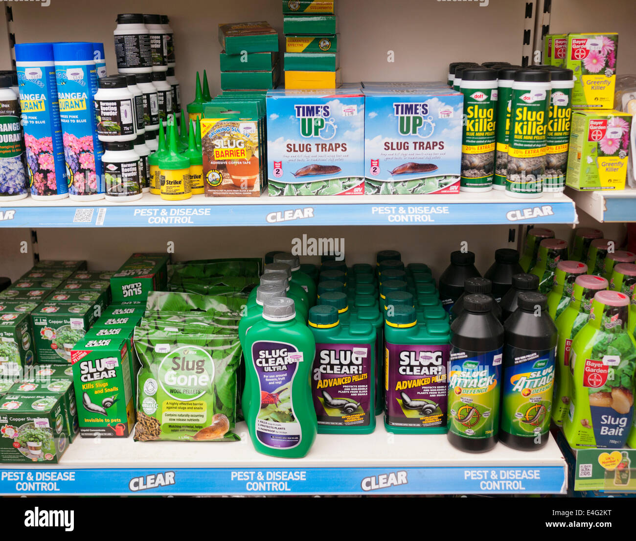 a selection of pest control products for slugs in a garden centre in britain - Pest Control Products