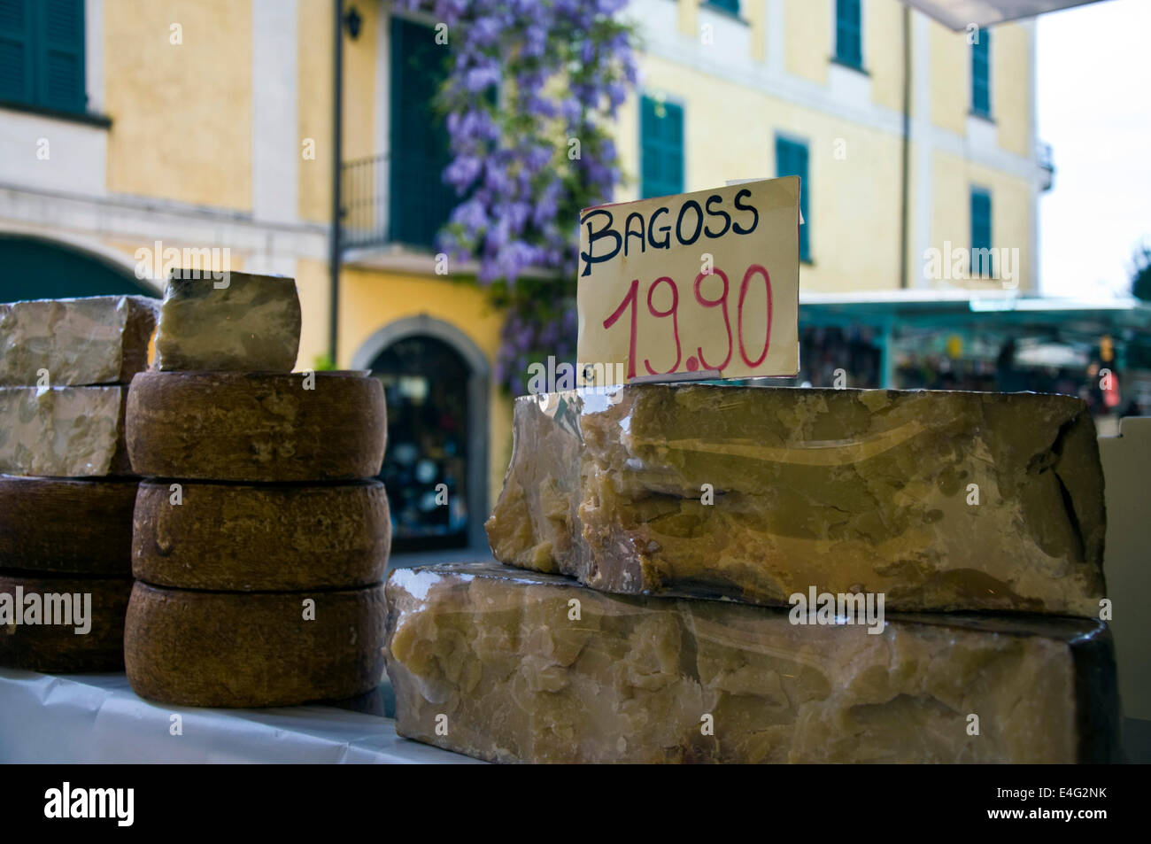 Lake Iseo artisan cheese at a market in Iseo town - Stock Image