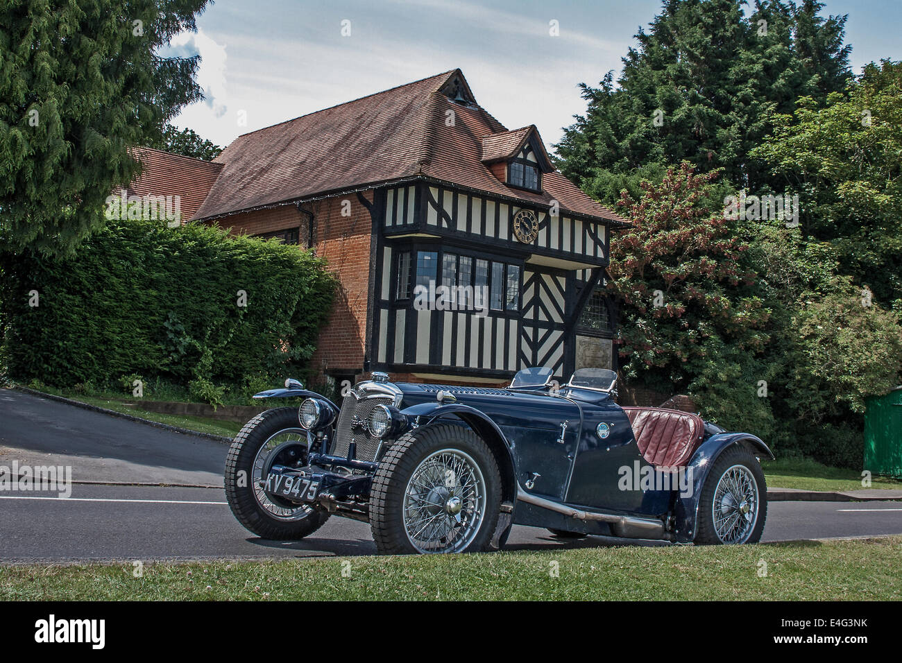 1934 Riley Ulster Imp sports car parked beside the village green in Tilford, Surrey, Farnham, United Kingdom. - Stock Image